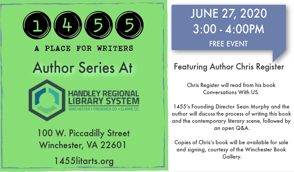 1455 AUTHOR SERIES AT HANDLEY LIBRARY: CHRIS REGISTER