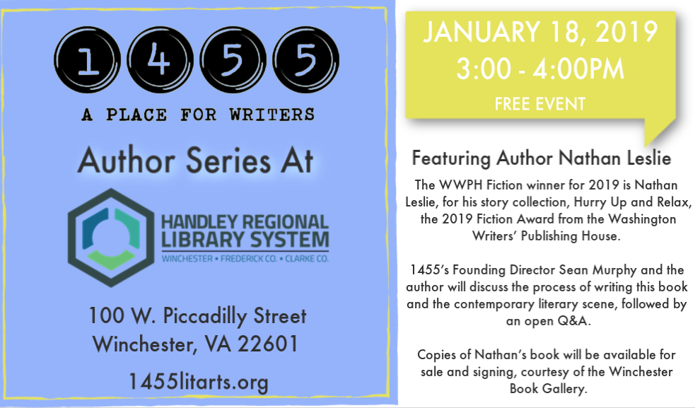 1455 AUTHOR SERIES AT HANDLEY LIBRARY: NATHAN LESLIE