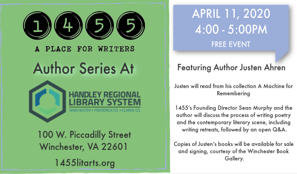 April 11 Author Series with Justen Ahren