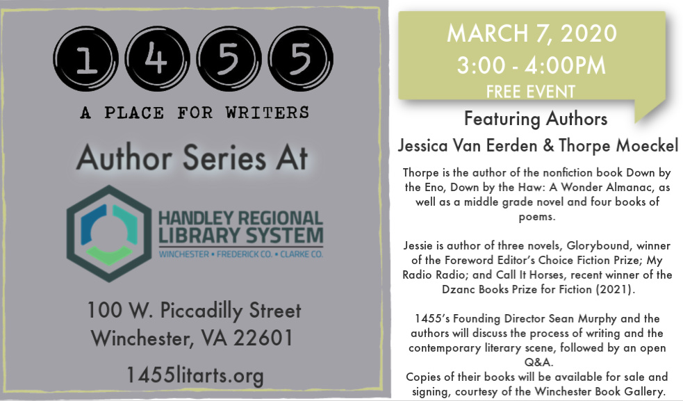 March 7 Author Series with Thorpe Moeckel and Jessie van Eerden